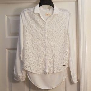 Hollister White Lace XS Dress Shirt